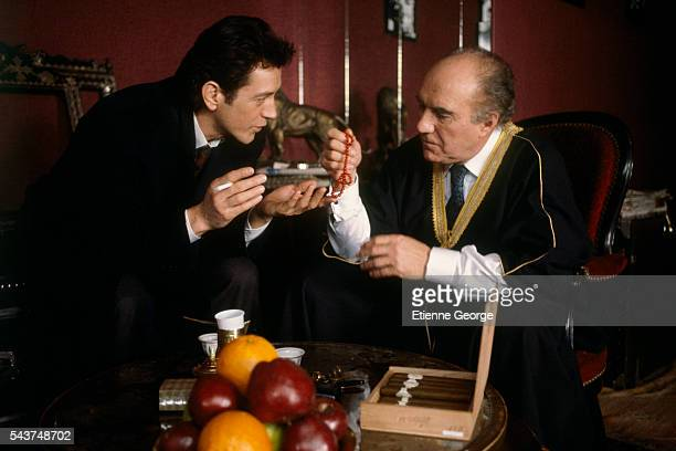 Actors Michel Piccoli and Bernard Giraudeau on the set of 'L'Homme Voile' directed by Lebanese filmmaker Maroun Bagdadi