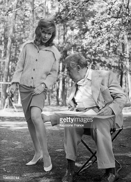 Actors Michel Simon And Dany Saval Shooting In 1960