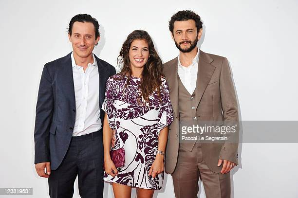 Actors Michele Alhaique Giulia Michelini and Vinicio Marchioni attend the Cavalli premiere during 68th Venice Film Festival at Palazzo del Cinema on...