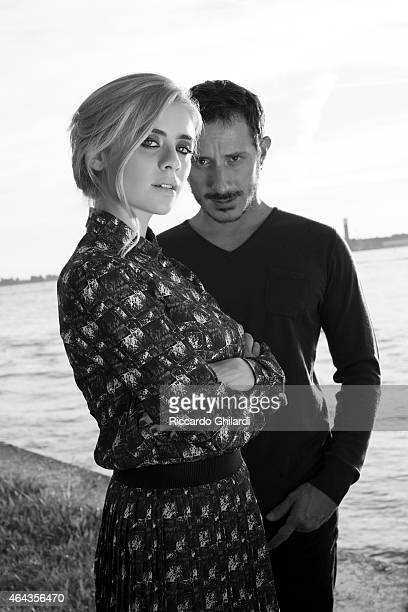 Actors Michele Alhaique Greta Scarano pose for Self Assignment on August 29 2014 in Venice Italy