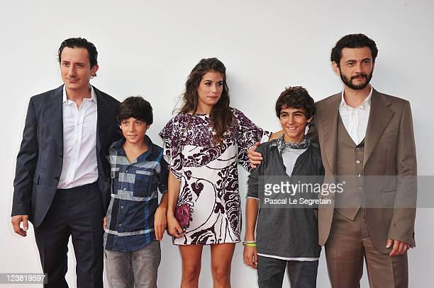 """Actors Michele Alhaique, guest, Giulia Michelin, guest i and Vinicio Marchioni attend the """"Cavalli"""" premiere during 68th Venice Film Festival at..."""