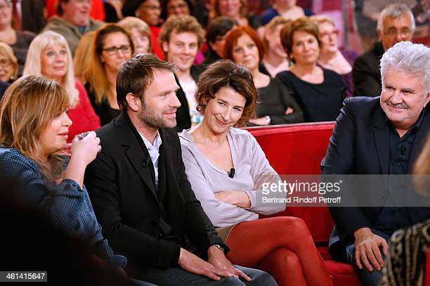 Actors Michele Bernier , Thomas Jouannet, Isabelle Gelinas and humorist Roland Magdane attend 'Vivement Dimanche' French TV Show. Held at Pavillon...