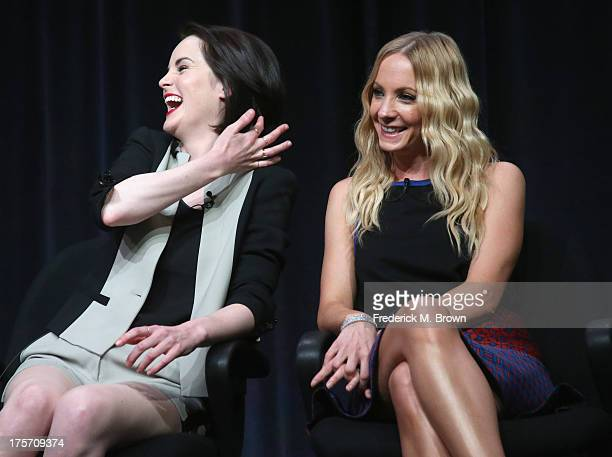 Actors Michelle Dockery and Joanne Froggatt speak onstage during the 'Downton Abbey' panel at the PBS portion of the 2013 Summer Television Critics...