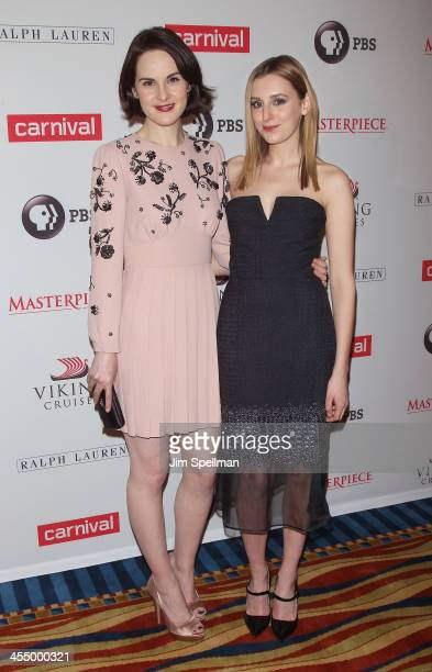 Actors Michelle Dockery and Laura Carmichael attend 'Downton Abbey' Season Four cast photo call at Millenium Hotel on December 10 2013 in New York...