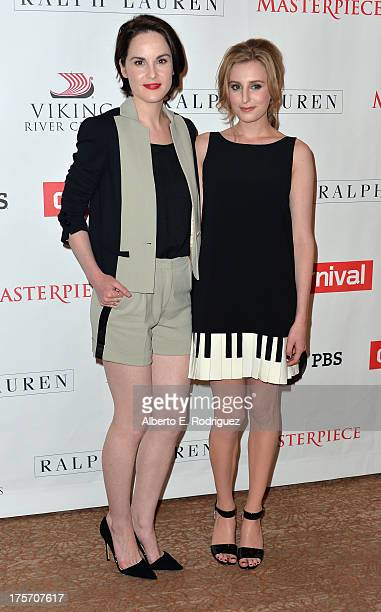 Actors Michelle Dockery and Laura Carmichael attend PBS History's 'Downton Abbey' Season 4 Photo Call at The Beverly Hilton Hotel on August 6 2013 in...