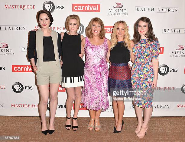 Actors Michelle Dockery Laura Carmichael Phyllis Logan Joanne Froggatt and Sophie McShera attend PBS History's 'Downton Abbey' Season 4 Photo Call at...
