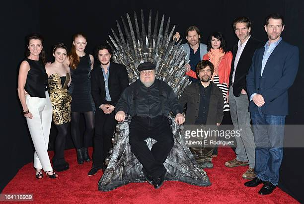 Actors Michelle Fairley, Maisie Williams, Sophie Turner, Kit Harington, executive producer George R.R. Martin, actors Nikolaj Coster-Waldau, Peter...