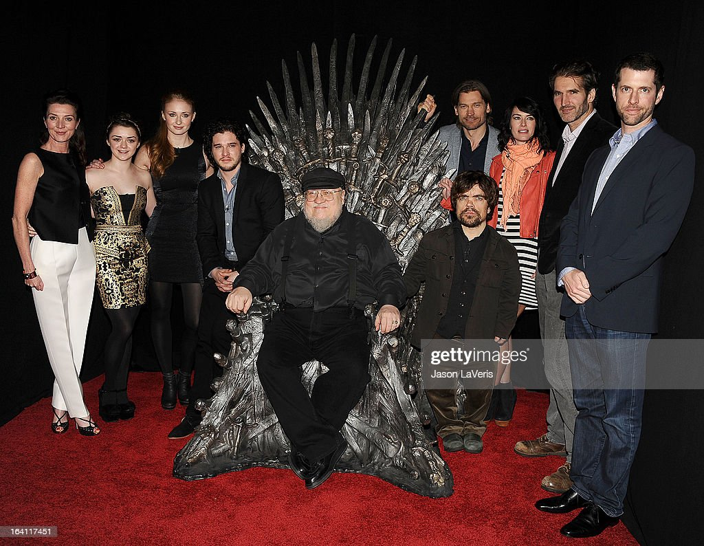 Actors Michelle Fairley, Maisie Williams, Sophie Turner, Kit Harington, executive producer George R.R. Martin, actors Nikolaj Coster-Waldau, Peter Dinklage, Lena Headey, co-creator/executive producer David Banioff and co-creator/executive producer D.B. Weiss attend an evening with 'Game Of Thrones' at TCL Chinese Theatre on March 19, 2013 in Hollywood, California.