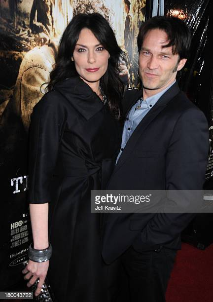 Actors Michelle Forbes and Stephen Moyer arrive at HBO's premiere of The Pacific held at Grauman's Chinese Theatre on February 24 2010 in Hollywood...