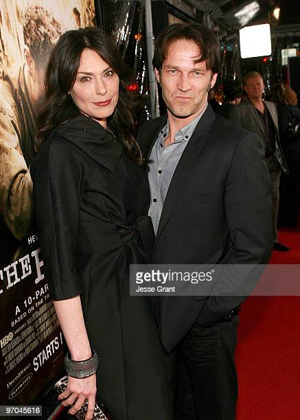 Actors Michelle Forbes and Stephen Moyer arrive to HBO's premiere of The Pacific at Grauman's Chinese Theatre on February 24 2010 in Los Angeles...