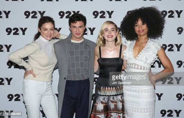 Actors Michelle Gomez Gavin Leatherwood Kiernan Shipka and Jaz Sinclair attend a conversation for Netflix's Chilling Adventures Of Sabrina at the...