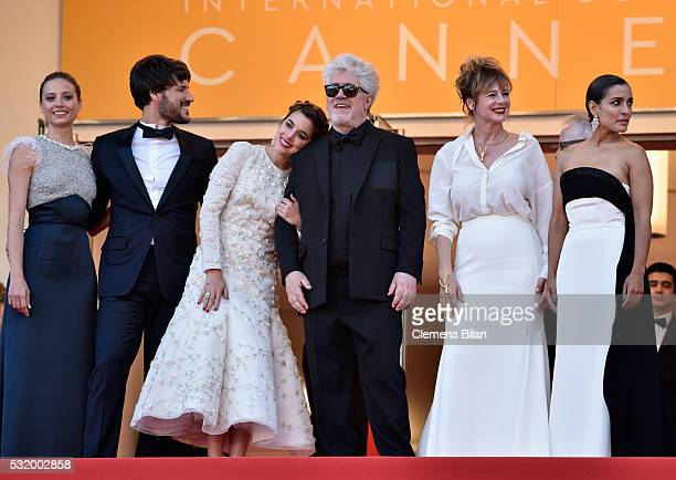 Actors Michelle Jenner Daniel Grao Adriana Ugarte Inma Cuesta director Pedro Almodovar Emma Suarez and Inma Cuesta attend the screening of Julieta at...