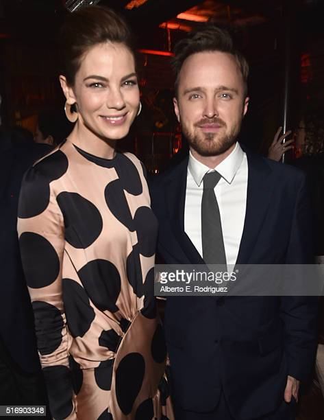 Actors Michelle Monaghan and Aaron Paul attend the after party for the premiere of Hulu's 'The Path' at ArcLight Hollywood on March 21 2016 in...