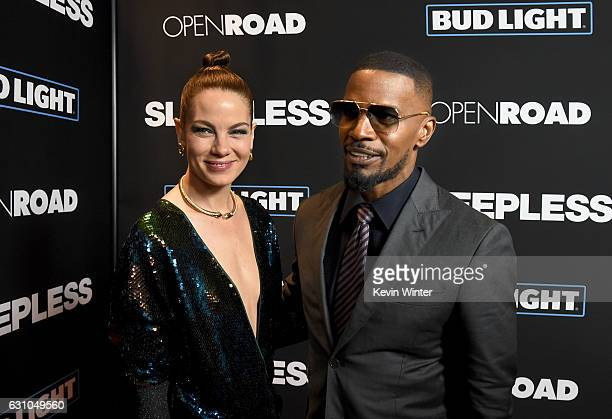 Actors Michelle Monaghan and Jamie Foxx arrive at the premiere of Open Road Films' Sleepless at the Regal LA Live Stadium 14 Theatre on January 5...