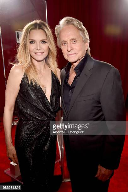 Actors Michelle Pfeiffer and Michael Douglas attend the Los Angeles Global Premiere for Marvel Studios' 'AntMan And The Wasp' at the El Capitan...