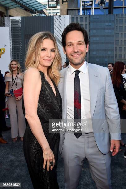 Actors Michelle Pfeiffer and Paul Rudd attend the Los Angeles Global Premiere for Marvel Studios' 'AntMan And The Wasp' at the El Capitan Theatre on...