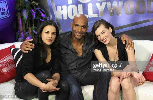 Actors Michelle Rodriguez Boris Kodjoe and Milla Jovovich visits the Young Hollywood Studio on August 25 2012 in Los Angeles California