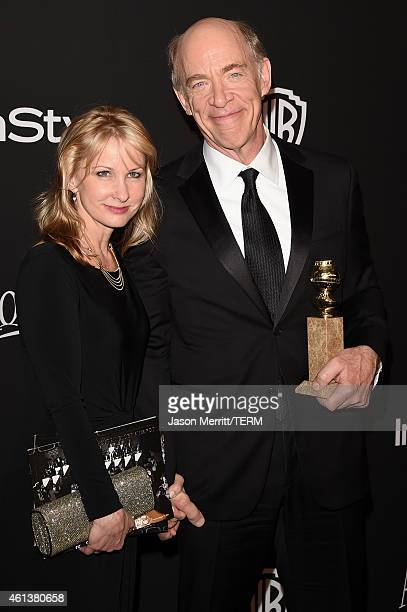 Actors Michelle Schumacher and JK Simmons attend the 2015 InStyle And Warner Bros 72nd Annual Golden Globe Awards PostParty at The Beverly Hilton...