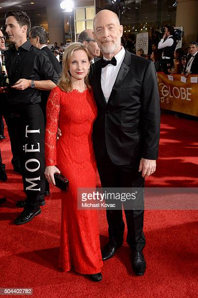 Actors Michelle Schumacher and JK Simmons attend the 73rd Annual Golden Globe Awards held at the Beverly Hilton Hotel on January 10 2016 in Beverly...