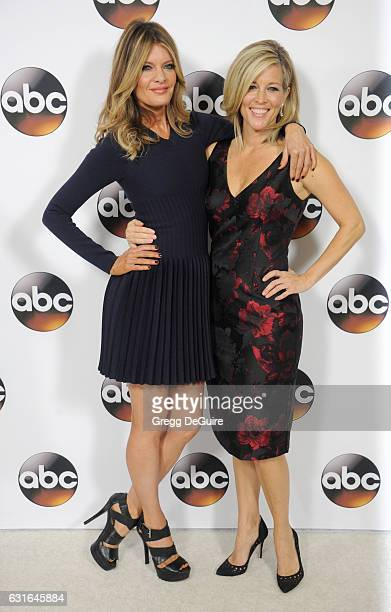 Actors Michelle Stafford and Laura Wright arrive at the 2017 Winter TCA Tour Disney/ABC at the Langham Hotel on January 10 2017 in Pasadena California
