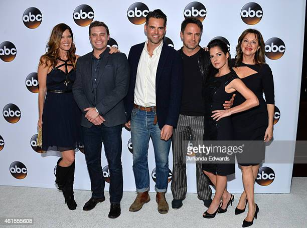 Actors Michelle Stafford Billy Miller Jason Thompson William DeVry Kelly Monoco and Nancy Lee Grahn arrive at the ABC TCA 'Winter Press Tour 2015'...