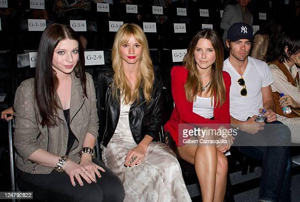 Actors Michelle Trachtenberg, Cameron Richardson, Sophia Bush and Chris Pine attend the Rebecca Minkoff Spring 2012 fashion show during Mercedes-Benz...