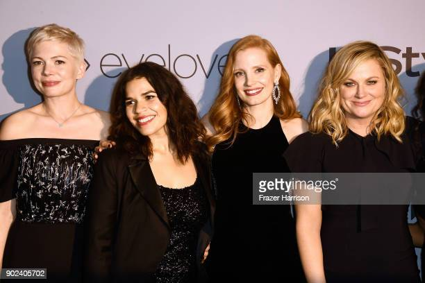 Actors Michelle Williams America Ferrera Jessica Chastain and Amy Poehler attend 19th Annual PostGolden Globes Party hosted by Warner Bros Pictures...
