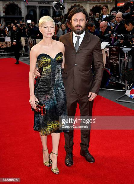 Actors Michelle Williams and Casey Affleck attend the 'Manchester By The Sea' International Premiere screening during the 60th BFI London Film...