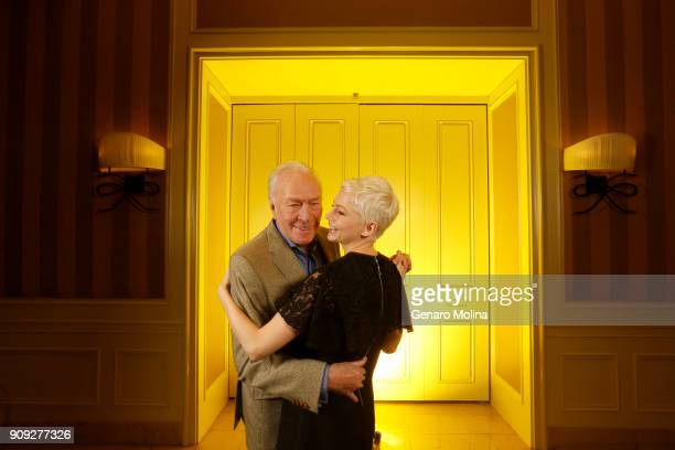 Actors Michelle Williams and Christopher Plummer are photographed for Los Angeles Times on December 16 2017 in Beverly Hills California PUBLISHED...