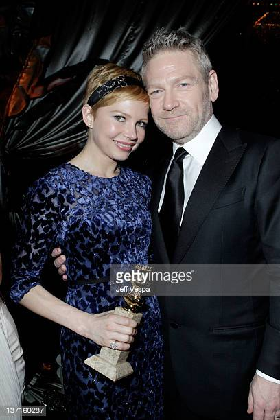 Actors Michelle Williams and Kenneth Branagh attend The Weinstein Company's 2012 Golden Globe Awards After Party with Chopard, Marie Claire and HP at...