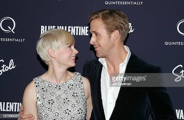 Actors Michelle Williams and Ryan Gosling attends the premiere of 'Blue Valentine' at The Museum of Modern Art on December 7 2010 in New York City