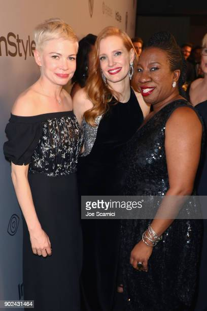 Actors Michelle Williams Jessica Chastain and activist Tarana Burke attend the 2018 InStyle and Warner Bros 75th Annual Golden Globe Awards PostParty...