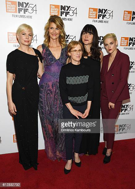 Actors Michelle Williams Laura Dern Lily Gladstone and Kristen Stewart pose with Director Kelly Reichardt at the Certain Women premiere during the...
