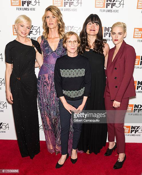 Actors Michelle Williams Laura Dern Lily Gladstone and Kristen Stewart pose with Director Kelly Reichardt attend the 'Certain Women' premiere during...