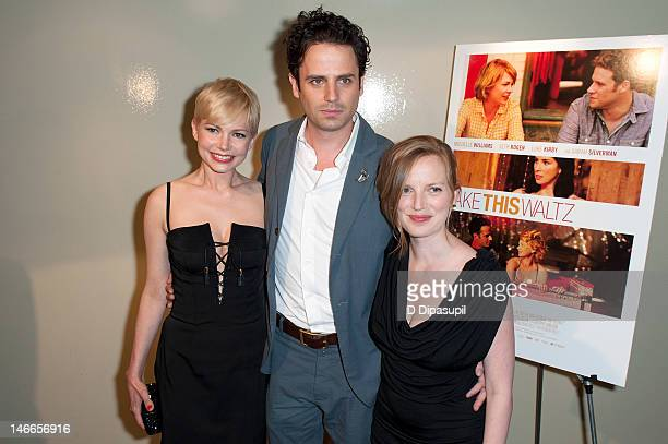 Actors Michelle Williams Luke Kirby and writer/director/producer Sarah Polley attend the 'Take This Waltz' screening at Sunshine Landmark on June 21...