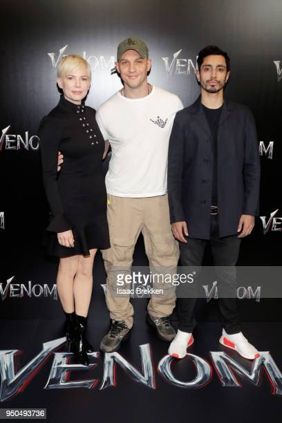 Actors Michelle Williams Tom Hardy and Riz Ahmed attend the CinemaCon 2018 Gala Opening Night Event Sony Pictures Highlights its 2018 Summer and...