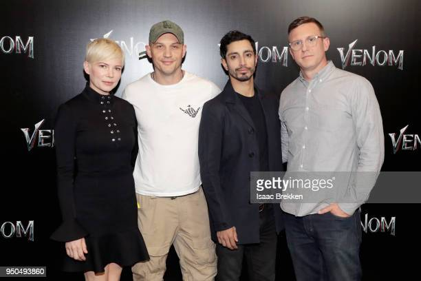 Actors Michelle Williams Tom Hardy Riz Ahmed and director Ruben Fleischer attend the CinemaCon 2018 Gala Opening Night Event Sony Pictures Highlights...