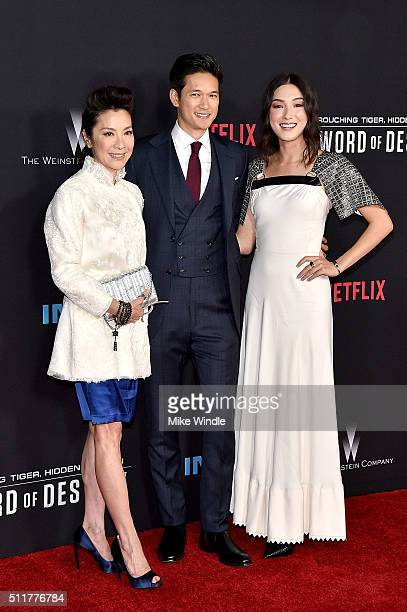 Actors Michelle Yeoh Harry Shum Jr and Natasha Liu Bordizzo attend the premiere of Netflix's 'Crouching Tiger Hidden Dragon Sword Of Destiny' at AMC...