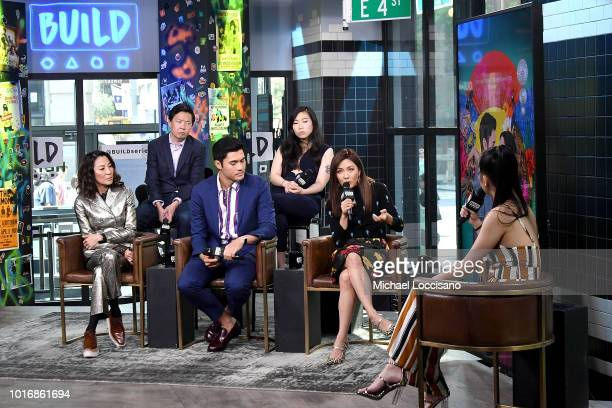 Actors Michelle Yeoh Ken Jeong Henry Golding Nora Lum aka Awkwafina and Constance Wu visit Build to discuss the movie 'Crazy Rich Asians' at Build...