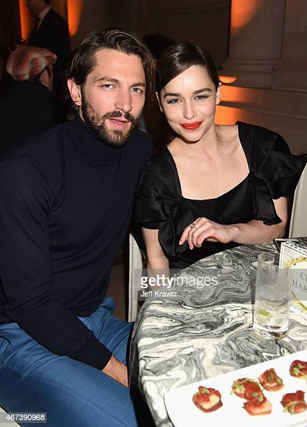 Actors Michiel Huisman and Emilia Clarke attend the after party for HBO's Game of Thrones Season 5 at San Francisco City Hall on March 23 2015 in San...