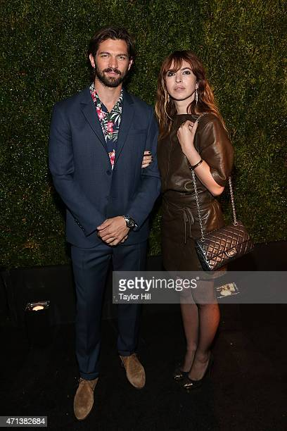 Actors Michiel Huisman and Tara Elders attend the 2015 Tribeca Film Festival Chanel Artists' Dinner at Balthazar on April 20 2015 in New York City