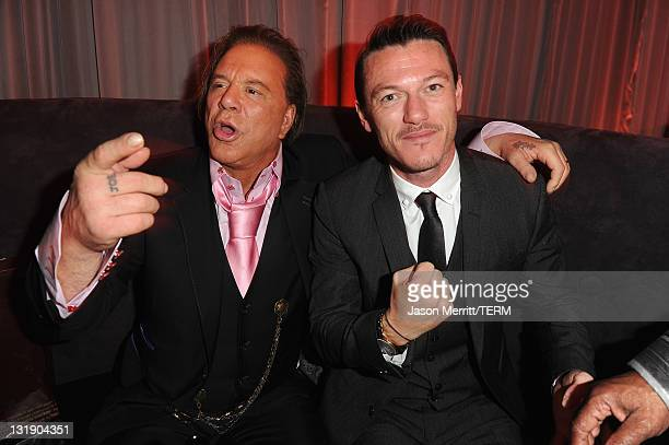 Actors Mickey Rourke and Luke Evans attend Relativity Media's Immortals premiere after party presented in RealD 3 at Nokia Theatre LA Live on...