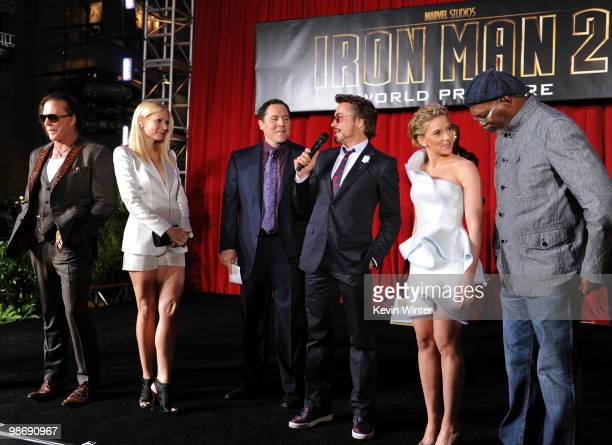 Actors Mickey Rourke, Gwyneth Paltrow, director/executive producer Jon Favreau, actor Robert Downey Jr., actress Scarlett Johansson and actor Samuel...
