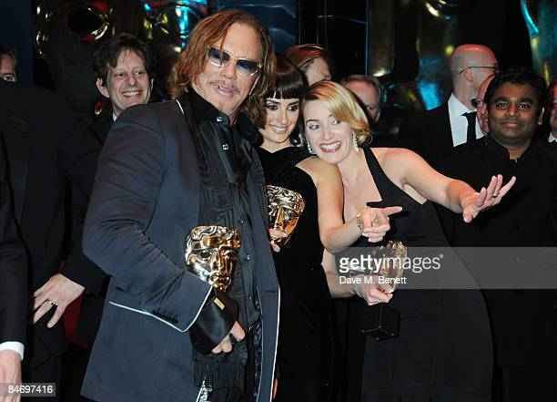 Actors Mickey Rourke Penelope Cruz and Kate Winslet pose with their Best Actor Award Best Supporting Actress Award and Best Actress Award during The...