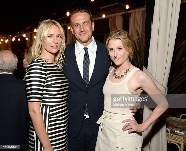 Actors Mickey Sumner Jason Segel and Mamie Gummer attend the afterparty for the Los Angeles premiere of A24's The End Of The Tour at The WGA Theater...