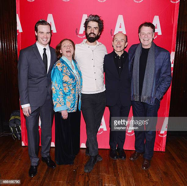 Actors Mickey Theis Dale Soules Hamish Linklater Henry Stram and John Noble attend the after party for the opening night of Posterity at Moran's...
