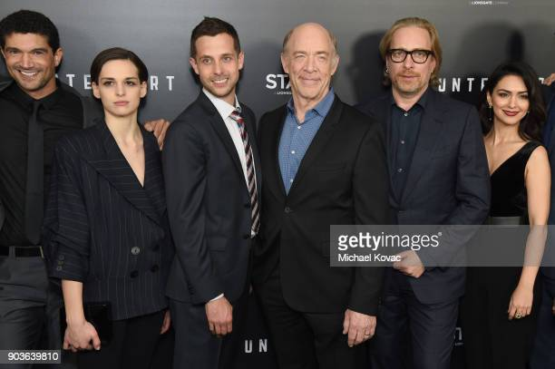 Actors Mido Hamada Sara Serraiocco writer Justin Marks actor J K Simmons executive producer Morten Tyldum and actor Nazanin Boniadi attend the...