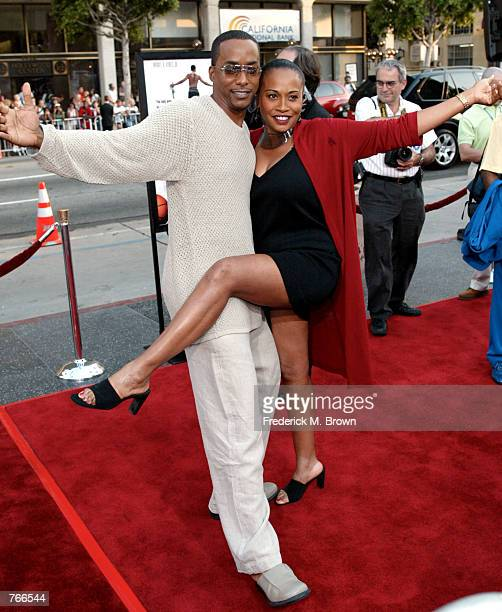 Actors Miguel A Nunez Jr and Jennifer Lewis attend the film premiere of Juwanna Mann June 18 2002 in Los Angeles California The film opens in...