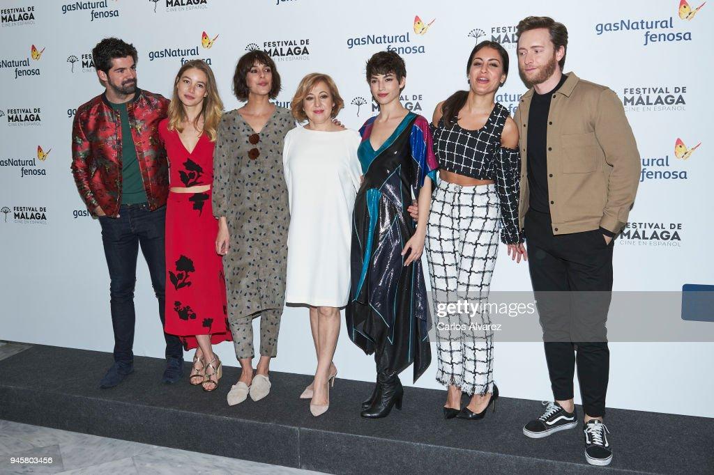 Actors Miguel Angel Munoz, Charlotte Vega, Belen Cuesta, Carmen Machi, Ursula Corbero, Hiba Abouk and Pablo Rivero attend 'Proyecto Tiempo' photocall at the Albeniz Theater on April 13, 2018 in Malaga, Spain.