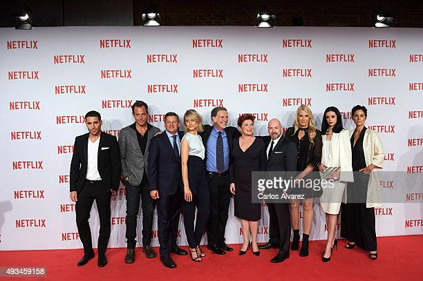 Actors Miguel Angel Silvestre, Will Arnet, Ted Sarandos, actress Taylor Schilling, Reed Hastings, actress Kate Mulgrew, Steven S. DeKnight and...